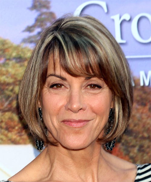 Wendie Malick Medium Straight Casual Bob Hairstyle with Layered Bangs - Medium Brunette Hair Color
