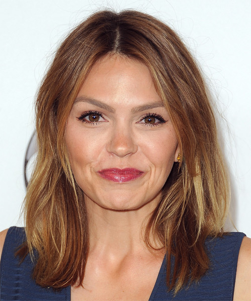 Aimee Teegarden Medium Straight Casual Bob Hairstyle - Light Brunette Hair Color