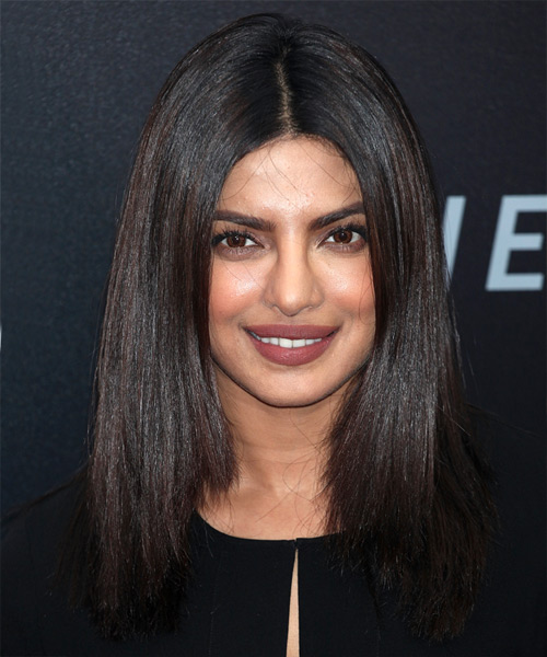 Priyanka Chopra Long Straight Formal Bob Hairstyle