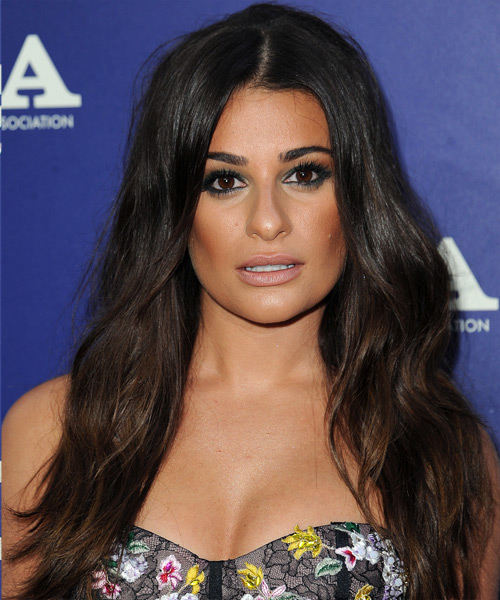 Lea Michele Long Wavy Formal Hairstyle - Dark Brunette