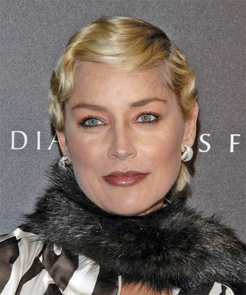 Sharon Stone - Formal Short Wavy Hairstyle