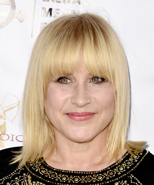 Patricia Arquette Medium Straight Formal Bob Hairstyle with Blunt Cut Bangs - Light Blonde (Golden) Hair Color