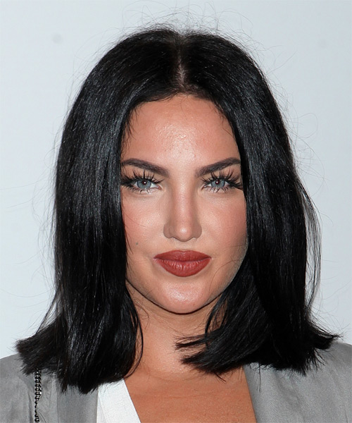 Natalie Halcro Medium Straight Casual Bob Hairstyle - Black Hair Color
