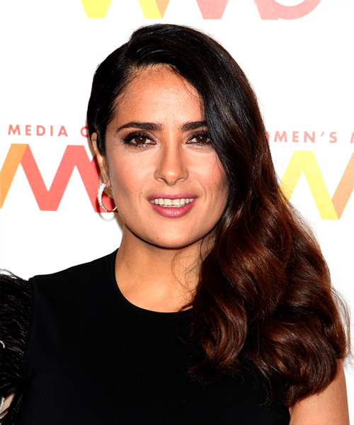 Salma Hayek Long Wavy Casual Hairstyle - Dark Brunette Hair Color