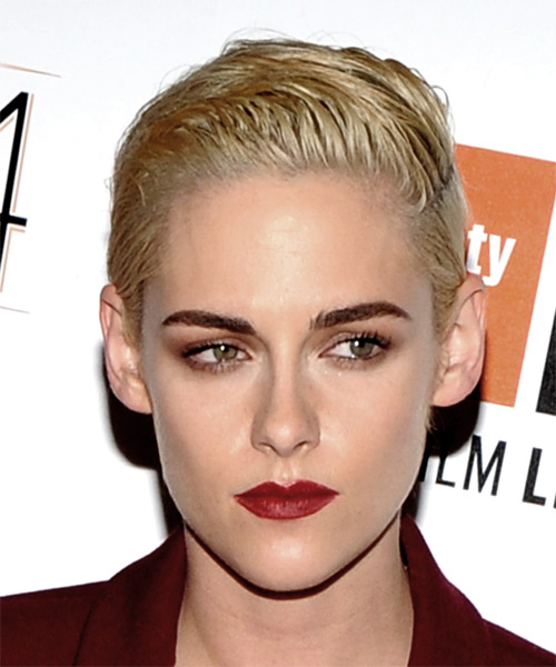 Kristen Stewart Short Straight Pixie Hairstyle - Light Blonde (Platinum)