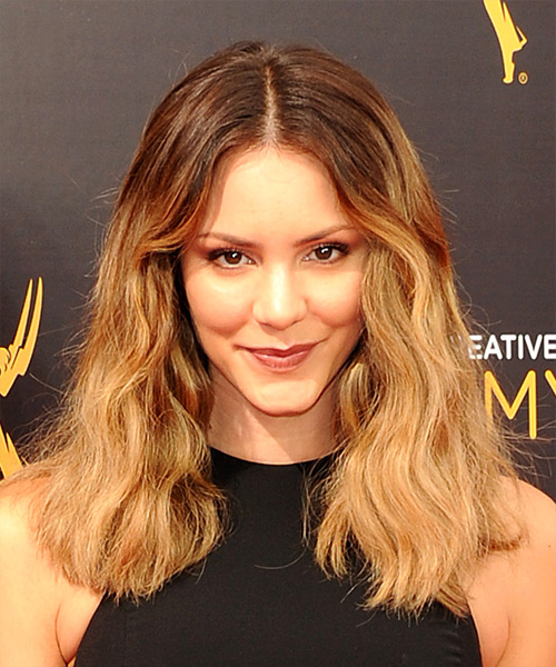 Katharine McPhee Long Wavy Casual Bob Hairstyle - Medium Blonde (Golden) Hair Color