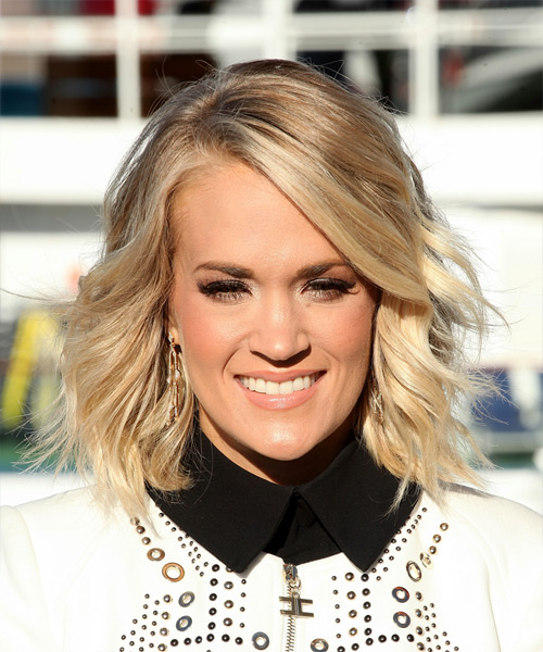 Carrie Underwood Medium Wavy Formal Bob Hairstyle - Light Blonde (Champagne)