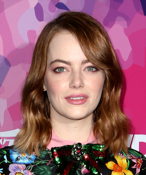 Emma Stone Medium Wavy Casual Bob Hairstyle with Side Swept Bangs - Dark Red (Copper) Hair Color