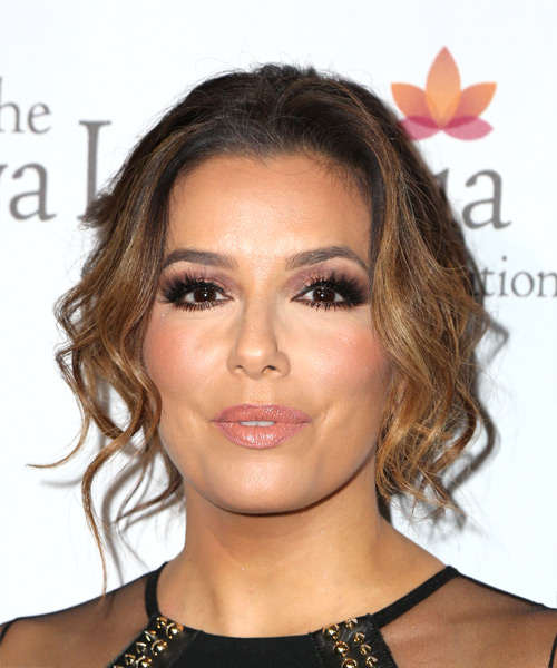 Eva Longoria Long Wavy Casual Updo Hairstyle - Light Brunette Hair Color