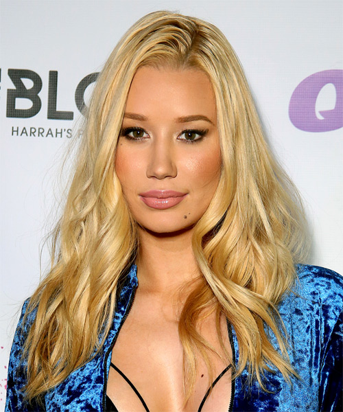 Iggy Azalea Long Wavy Hairstyle - Light Blonde