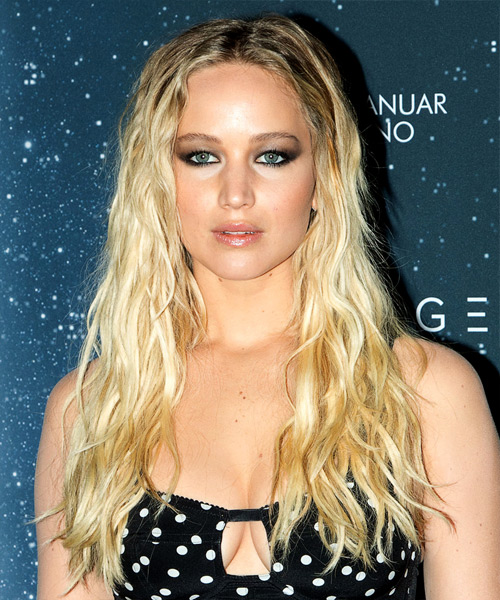 Jennifer Lawrence Long Wavy Casual Hairstyle - Light Blonde Hair Color