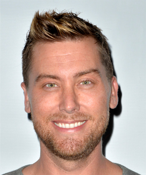 Lance Bass Short Straight Hairstyle - Dark Blonde