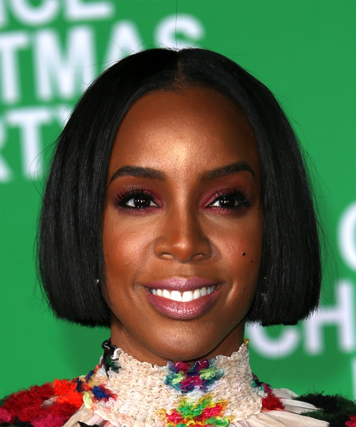 Kelly Rowland Short Straight Bob Hairstyle - Black