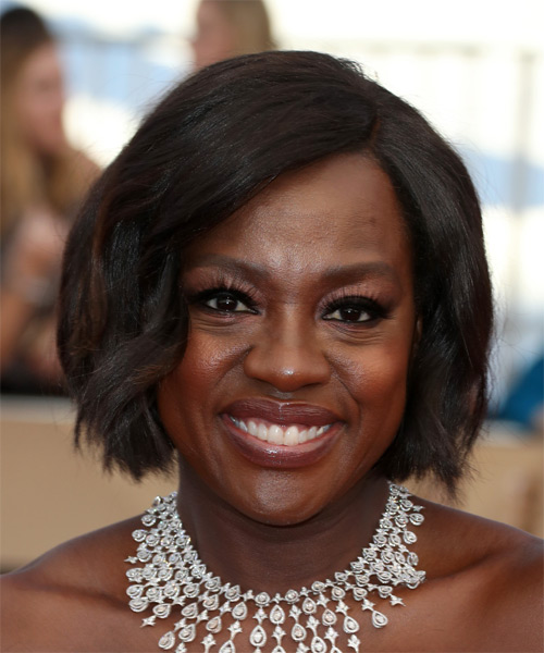 Viola Davis Short Straight Bob Hairstyle - Black