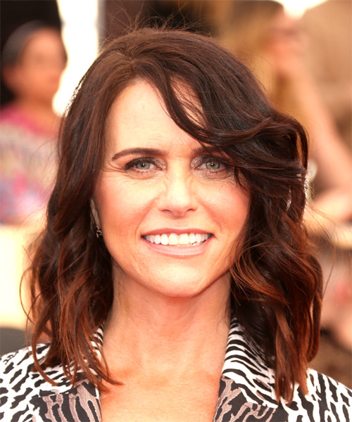Amy Landecker Medium Wavy Casual  with Side Swept Bangs - Dark Brunette