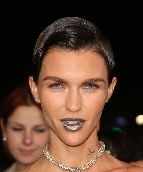 Ruby Rose Slick Short Straight Casual Pixie Hairstyle - Dark Brunette Hair Color