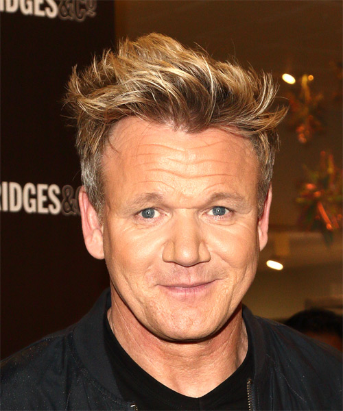 Gordon Ramsay Short Wavy Hairstyle - Medium Blonde