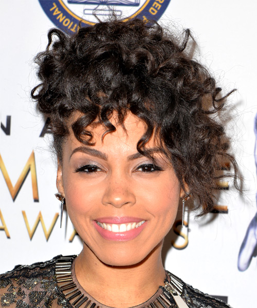 Amirah Vann Medium Curly Casual Afro Updo with Layered Bangs - Dark Brunette