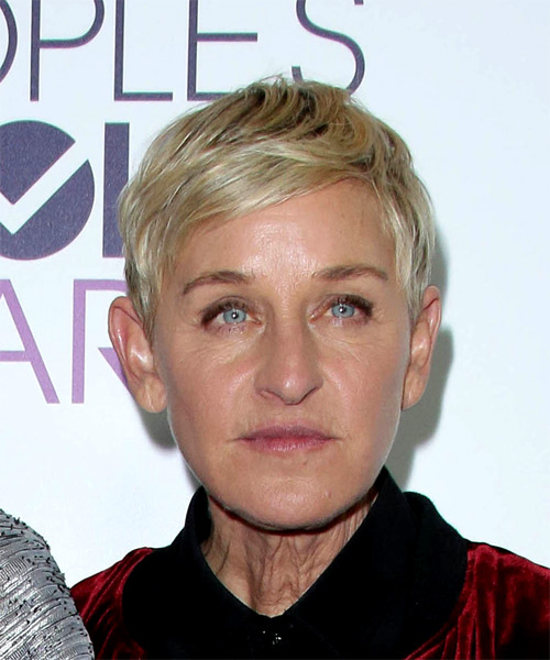 Ellen Degeneres Funky Jagged Short Straight Casual Pixie Hairstyle with Razor Cut Bangs - Light Blonde Hair Color