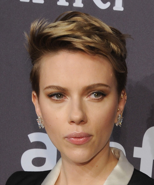Scarlett Johansson Chic Short Straight Pixie Hairstyle - Dark Blonde