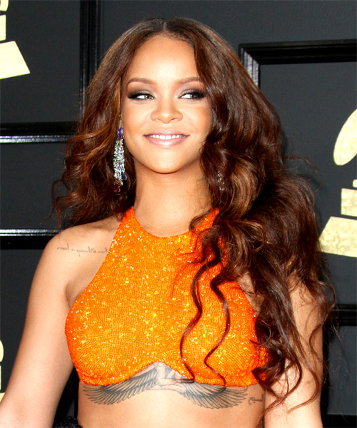 Rihanna Long Wavy Hairstyle - Dark Brunette
