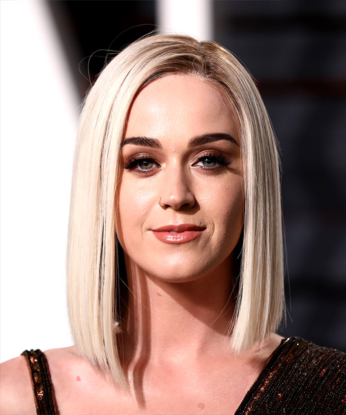 Katy Perry Medium Straight Formal Bob Hairstyle - Light Blonde (Platinum) Hair Color