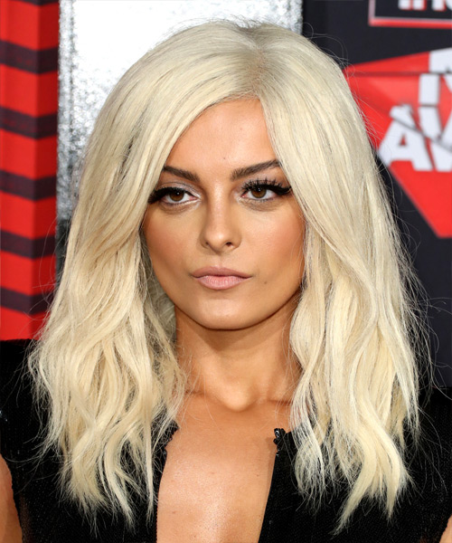 Bebe Rexha Long Wavy Hairstyle - Light Blonde