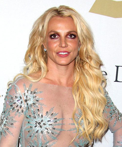 Britney Spears Long Curly Casual Hairstyle - Light Blonde (Golden) Hair Color