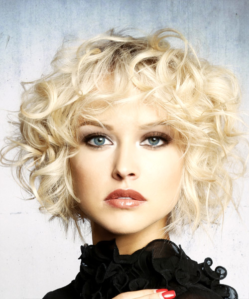 Short Curly Formal Shag Hairstyle with Layered Bangs - Light Blonde (Platinum) Hair Color
