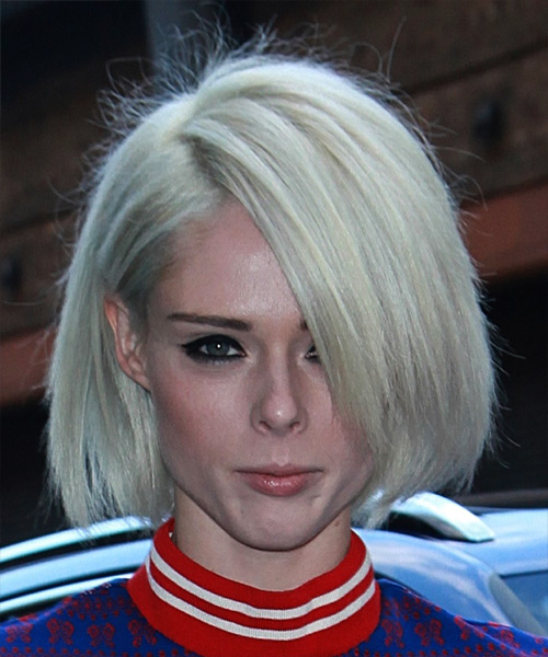 Coco Rocha Short Straight Casual Bob Hairstyle - Light Blonde (Platinum) Hair Color