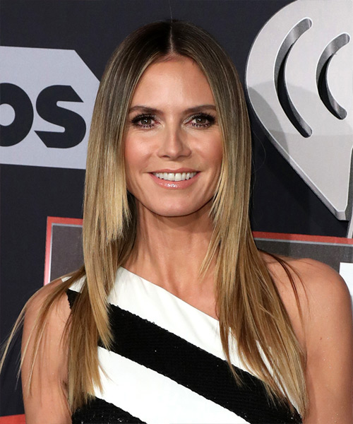 Heidi Klum Long Straight Formal Hairstyle - Light Brunette Hair Color