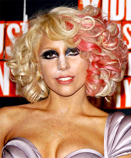 Lady GaGa Medium Curly Hairstyle