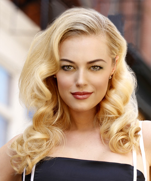 Long Curly Formal Hairstyle Light Blonde Hair Color