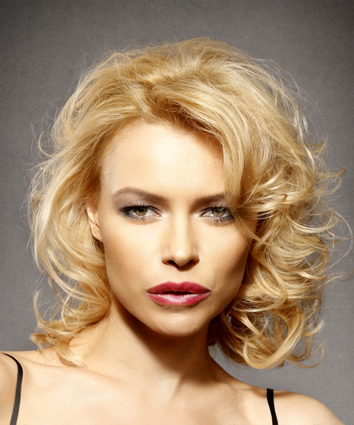 Medium Curly Formal Hairstyle with Side Swept Bangs - Light Blonde (Golden) Hair Color