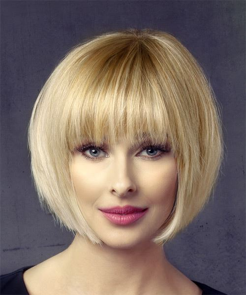 Short Straight Formal Bob Hairstyle with Layered Bangs - Light Blonde (Honey) Hair Color