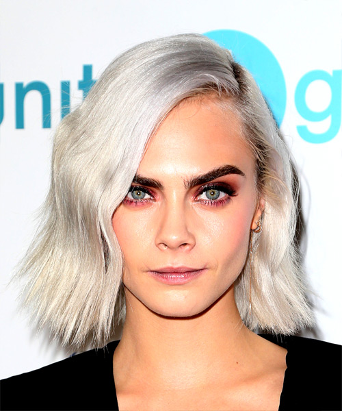 Cara Delevingne Medium Wavy Casual Bob Hairstyle - Light Blonde (Platinum) Hair Color