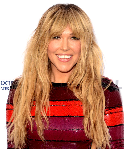 Rachel Platten Long Wavy Casual Hairstyle with Blunt Cut Bangs - Medium Blonde (Golden) Hair Color