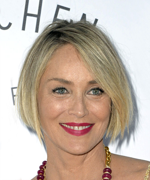 Sharon Stone Short Straight Casual Bob Hairstyle - Medium Blonde Hair Color