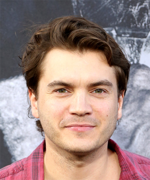 Emile Hirsch Short Wavy Casual Hairstyle - Medium Brunette Hair Color