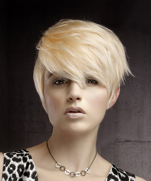 Short Straight Casual Pixie Hairstyle with Side Swept Bangs - Light Blonde (Platinum) Hair Color