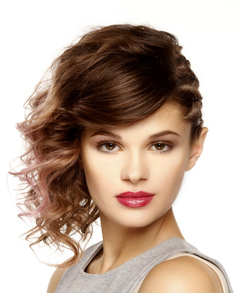 Medium Wavy Casual Updo Asymmetrical Hairstyle - Medium Brunette Hair Color