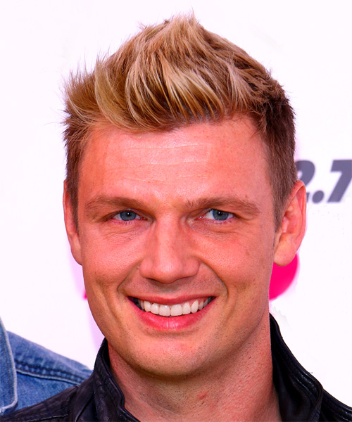Nick Carter Short Straight Casual Hairstyle - Medium Blonde Hair Color