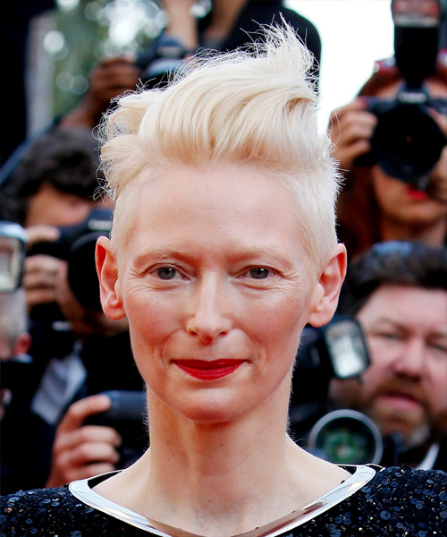 Tilda Swinton Short Wavy Casual Mohawk Hairstyle - Light Blonde Hair Color