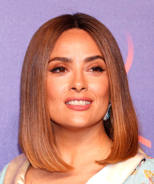 Salma Hayek Medium Straight Bob Hairstyle - Medium Brunette