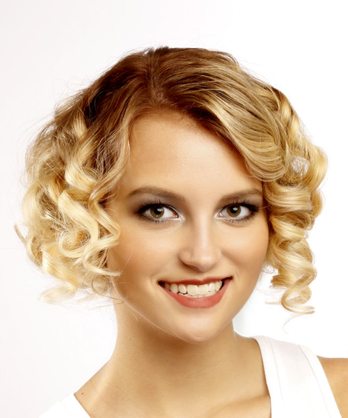 Short Curly Formal Bob Hairstyle - Light Blonde Hair Color