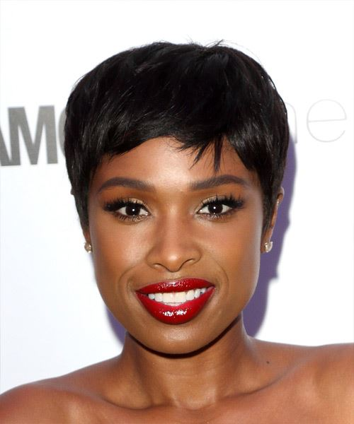 Jennifer Hudson Short Straight Casual Pixie Hairstyle with Side Swept Bangs - Black Hair Color
