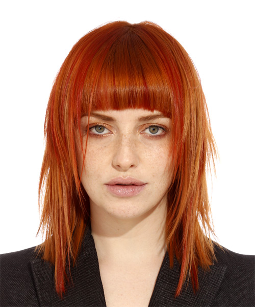 Medium Straight Orange Hairstyle with Blunt Cut Bangs