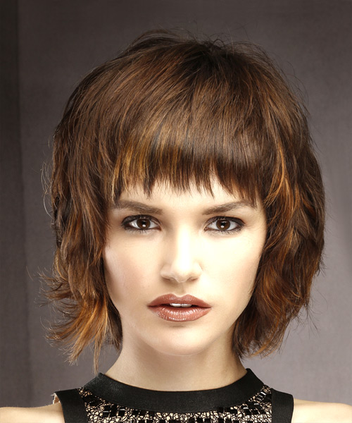 Short Straight Casual Shag Hairstyle with Layered Bangs - Medium Brunette Hair Color