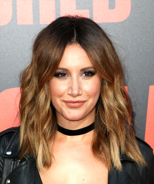 Ashley Tisdale Medium Wavy Casual Bob Hairstyle - Light Brunette Hair Color