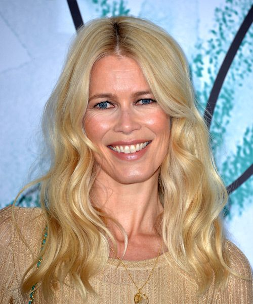 Claudia Schiffer Long Wavy Casual Hairstyle - Light Blonde Hair Color